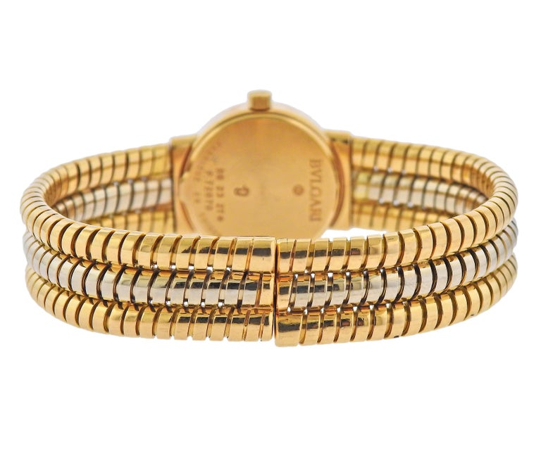 Bulgari Tubogas Watch Bracelet BB 23 2T In Excellent Condition For Sale In New York, NY