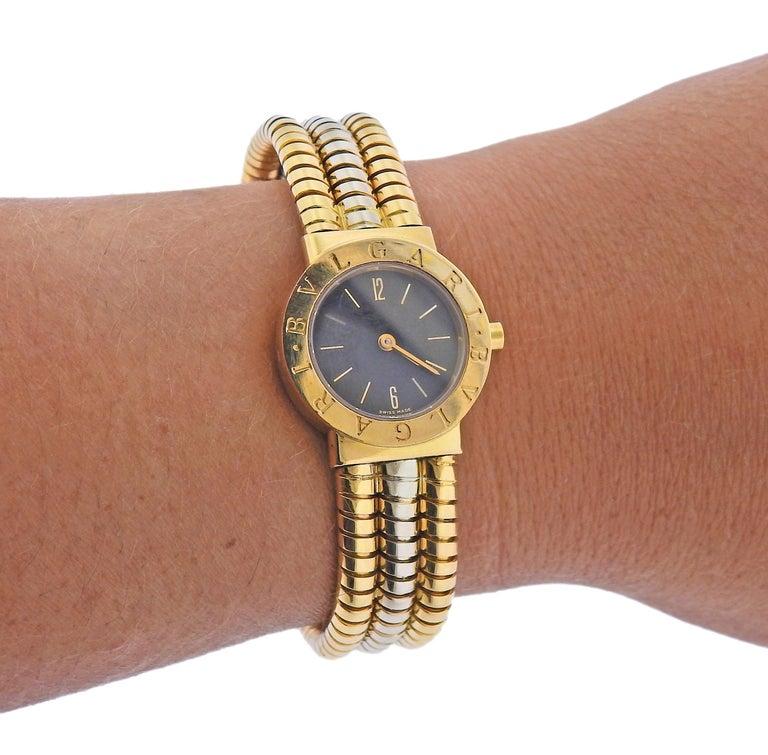 Bulgari Tubogas Watch Bracelet BB 23 2T For Sale 2