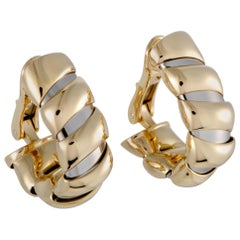 Bulgari Tubogas Yellow and White Gold Huggie Clip-On Earrings