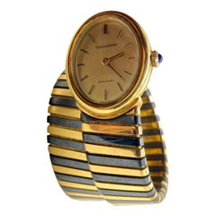 Bulgari Tubogas Yellow & Blackened Gold Watch