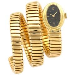 Bulgari Tubogas Yellow Gold Black Dial Watch