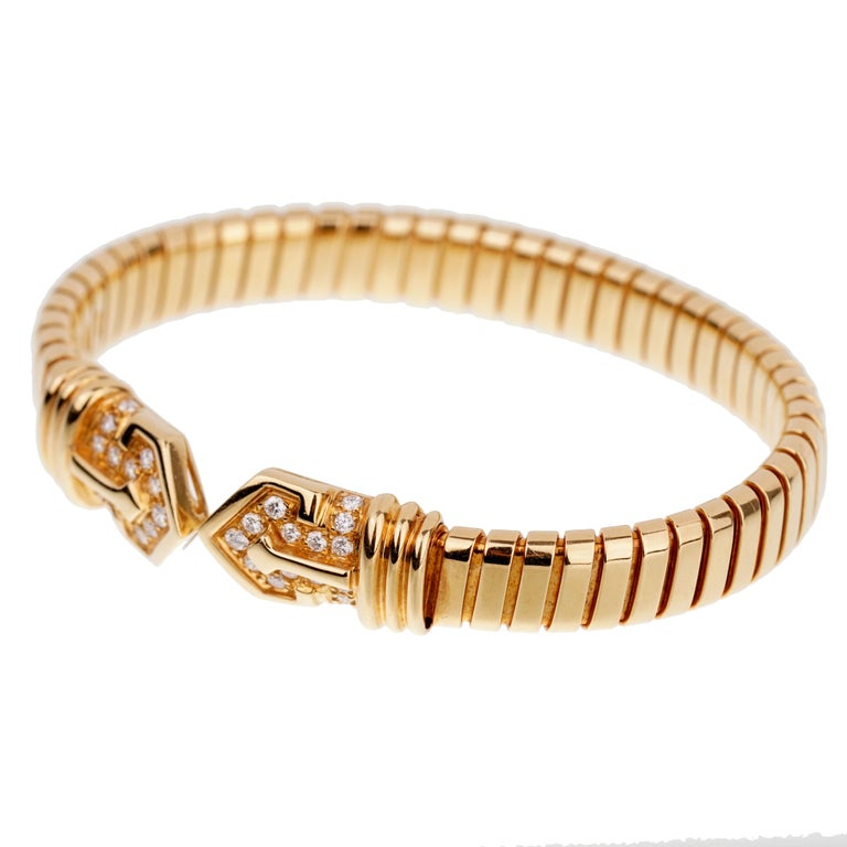Bulgari Tubogas Yellow Gold Diamond Cuff Bracelet In Excellent Condition For Sale In Feasterville, PA