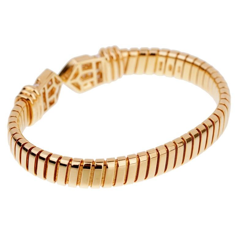 Women's Bulgari Tubogas Yellow Gold Diamond Cuff Bracelet For Sale