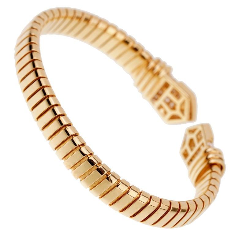 Bulgari Tubogas Yellow Gold Diamond Cuff Bracelet For Sale 1