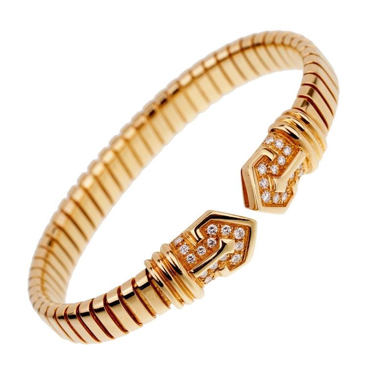 Bulgari Tubogas Yellow Gold Diamond Cuff Bracelet For Sale
