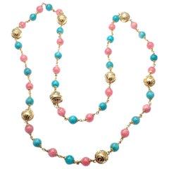 "Vintage Bulgari Turquoise Rhodochrosite 33"" Long Yellow Gold Link Necklace"