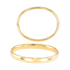 Bulgari Twin Yellow Gold Hinged Bangle Bracelets