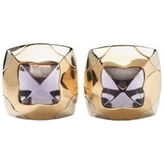 Bulgari Two-Color Pyramid Amethyst Gold Ear Clips