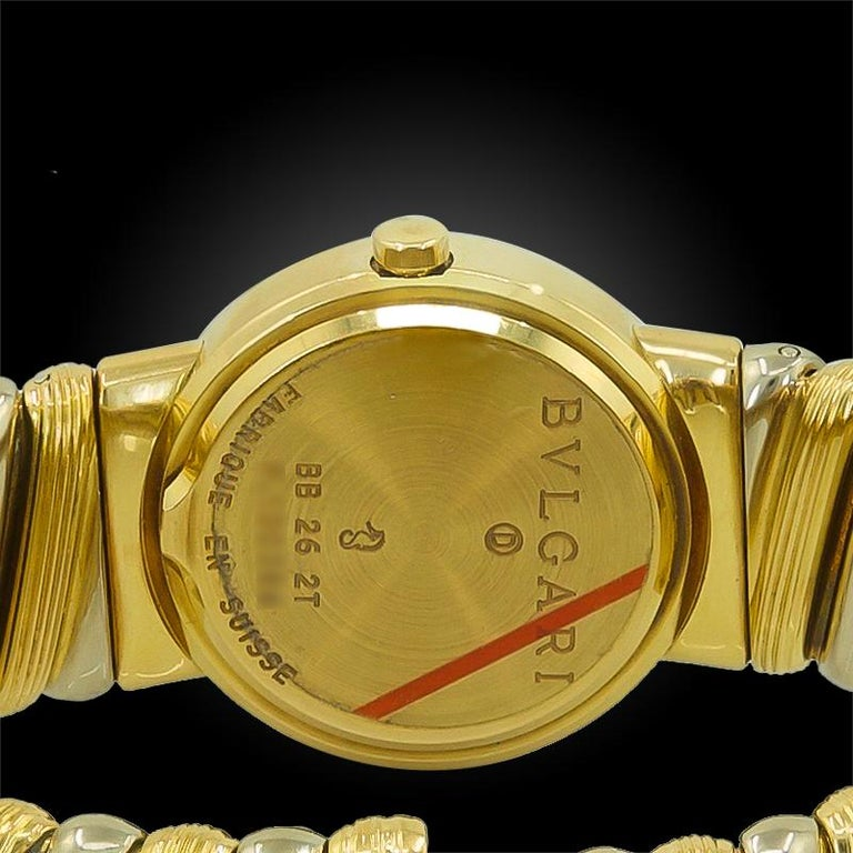 Bulgari Two-Tone Gold Cuff Wristwatch In Good Condition For Sale In New York, NY