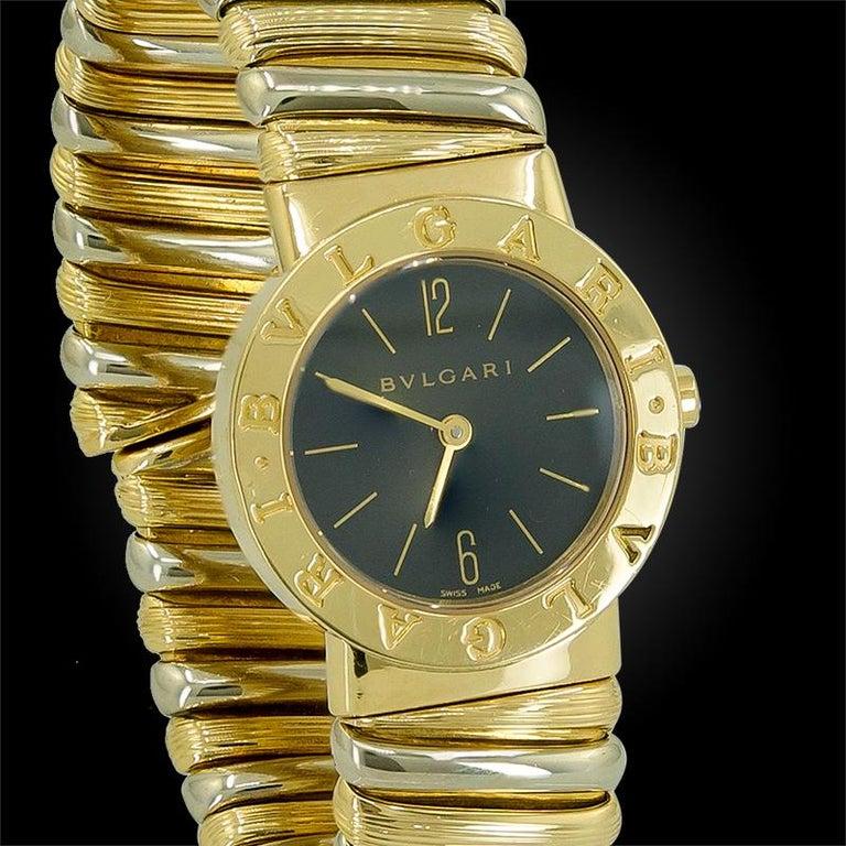 Women's or Men's Bulgari Two-Tone Gold Cuff Wristwatch For Sale