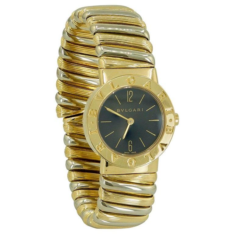 Bulgari Two-Tone Gold Cuff Wristwatch For Sale