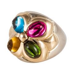 Bulgari Two-Tone Gold Multi Gemstone Ring
