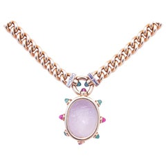 Bulgari Unusual Agate Ruby Emerald Diamond Pendant Necklace