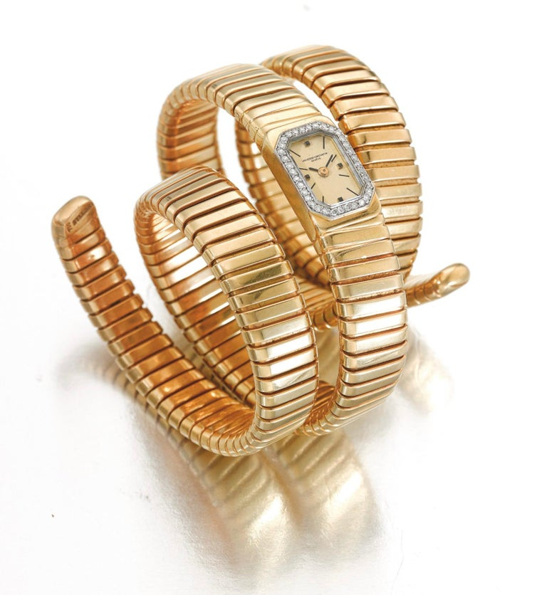 Women's Bulgari Vacheron Constantin Yellow Gold Diamond Tubogas Cuff Watch For Sale