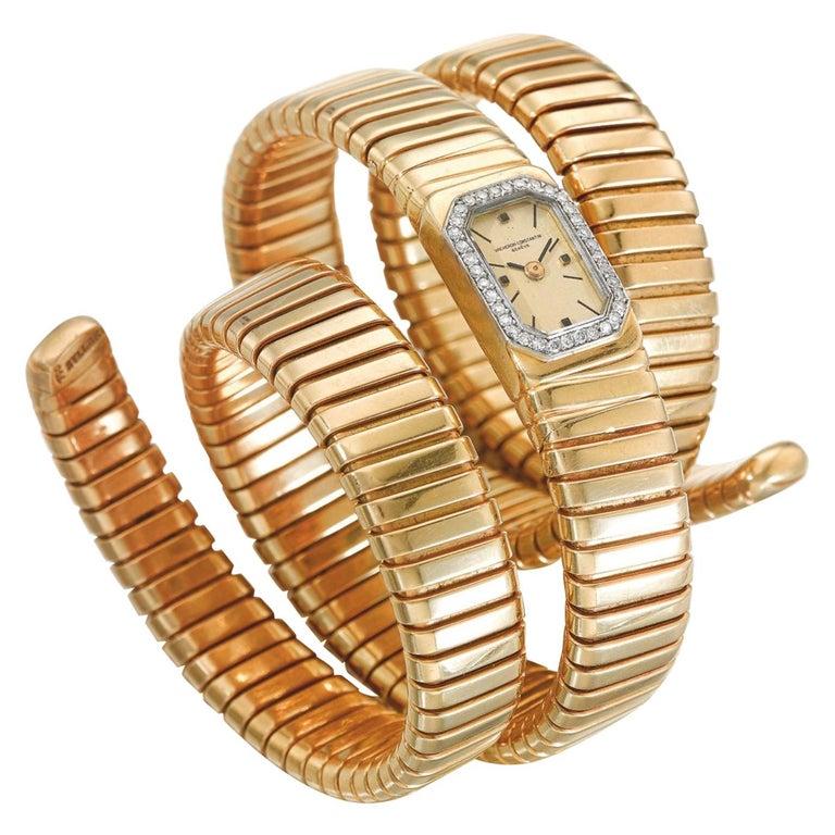 Bulgari Vacheron Constantin Yellow Gold Diamond Tubogas Cuff Watch For Sale