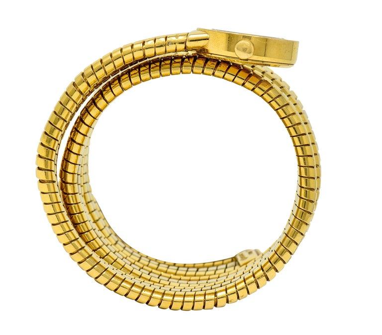 Bulgari Vintage 18 Karat Two Tone Gold Serpenti Tubogas Coil Watch For Sale 6
