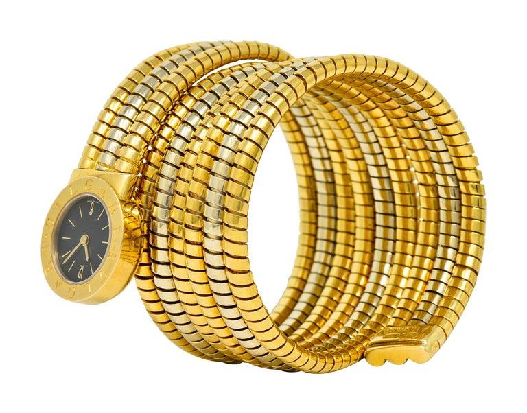 Bulgari Vintage 18 Karat Two Tone Gold Serpenti Tubogas Coil Watch For Sale 8
