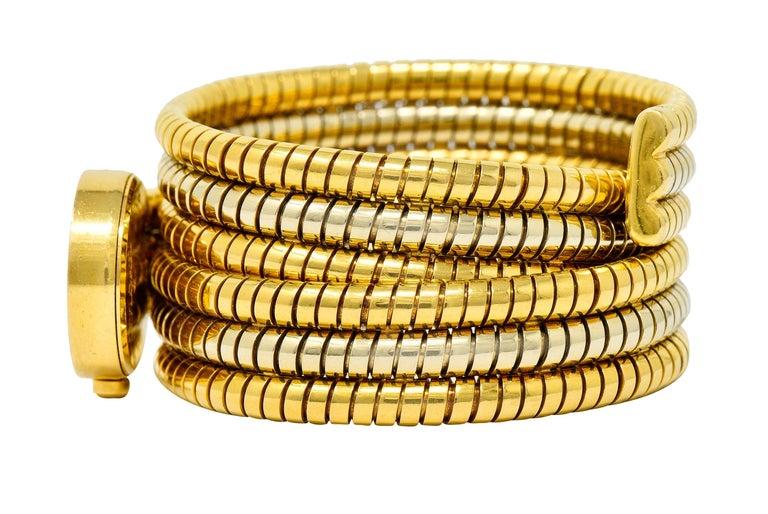 Bulgari Vintage 18 Karat Two Tone Gold Serpenti Tubogas Coil Watch For Sale 2