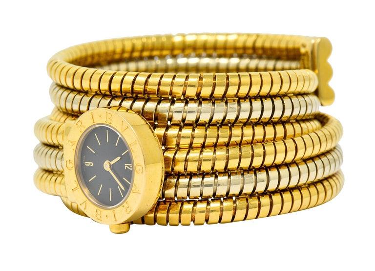 Bulgari Vintage 18 Karat Two Tone Gold Serpenti Tubogas Coil Watch For Sale 3