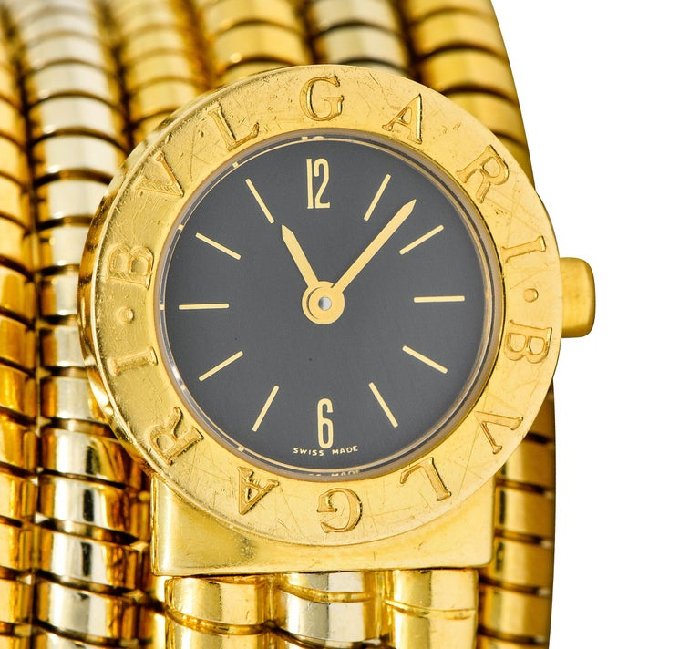 Bulgari Vintage 18 Karat Two Tone Gold Serpenti Tubogas Coil Watch For Sale 4