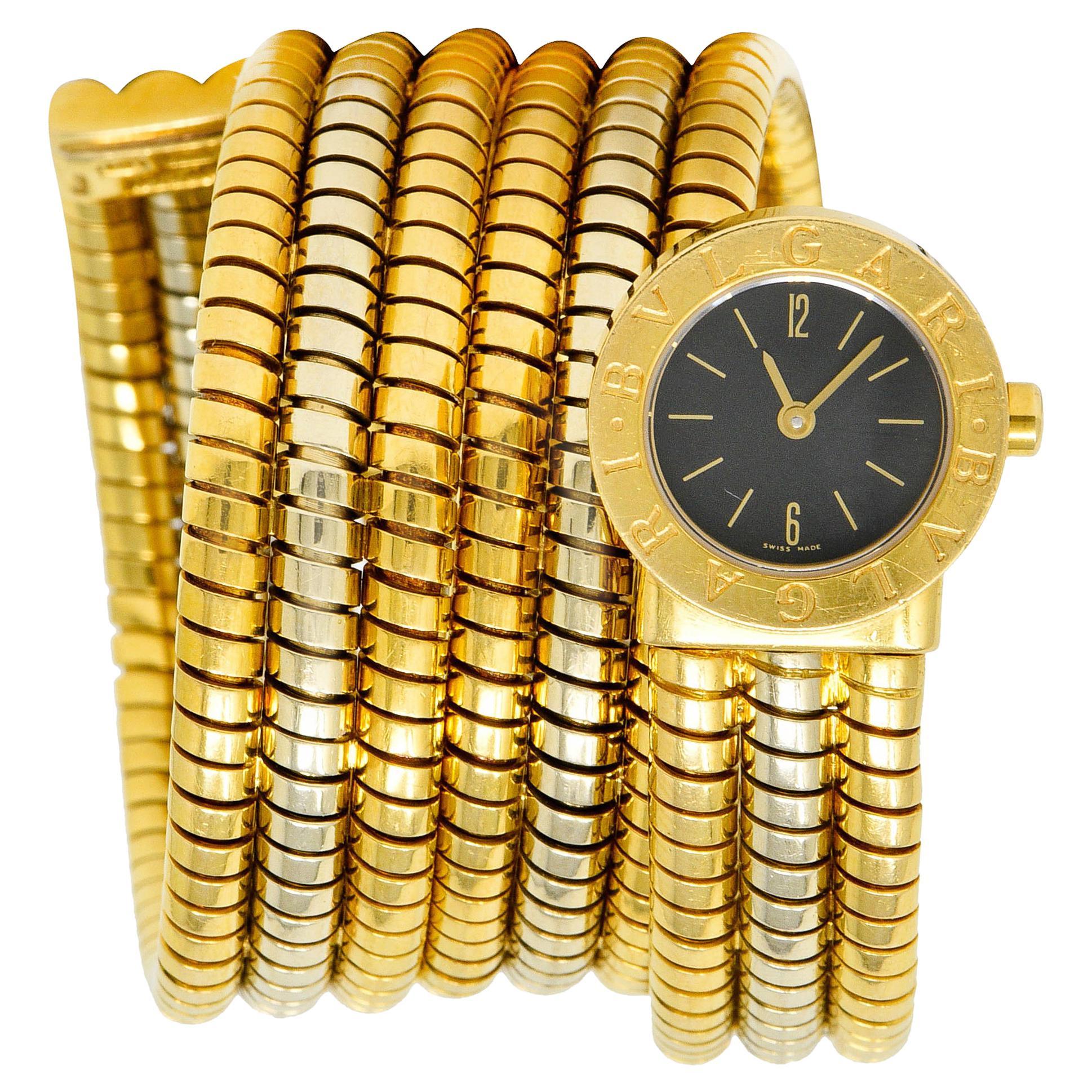 Bulgari Vintage 18 Karat Two Tone Gold Serpenti Tubogas Coil Watch