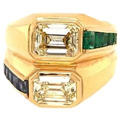Bulgari Vintage 18 Karat Yellow Gold Double Diamond Emerald Cut Ring