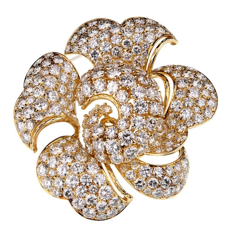 Bulgari Vintage Bring Back The Brooch 34 Carat Pave Diamond Gold Floral Brooch For Sale
