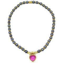 Bulgari Vintage Bead Yellow Gold Hematite Tourmaline Heart Necklace