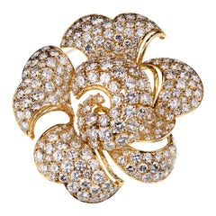 Bulgari Vintage Bring Back the Brooch 34 Carat Pave Diamond Gold Floral Brooch
