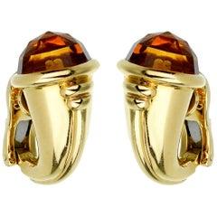 Bulgari Vintage Citrine Yellow Gold Hoop Earrings