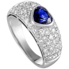 Vintage Bulgari Heart Cut Sapphire Diamond White Gold Ring