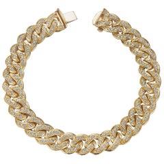 Bulgari Vintage Diamond Gold Curb Link Bracelet