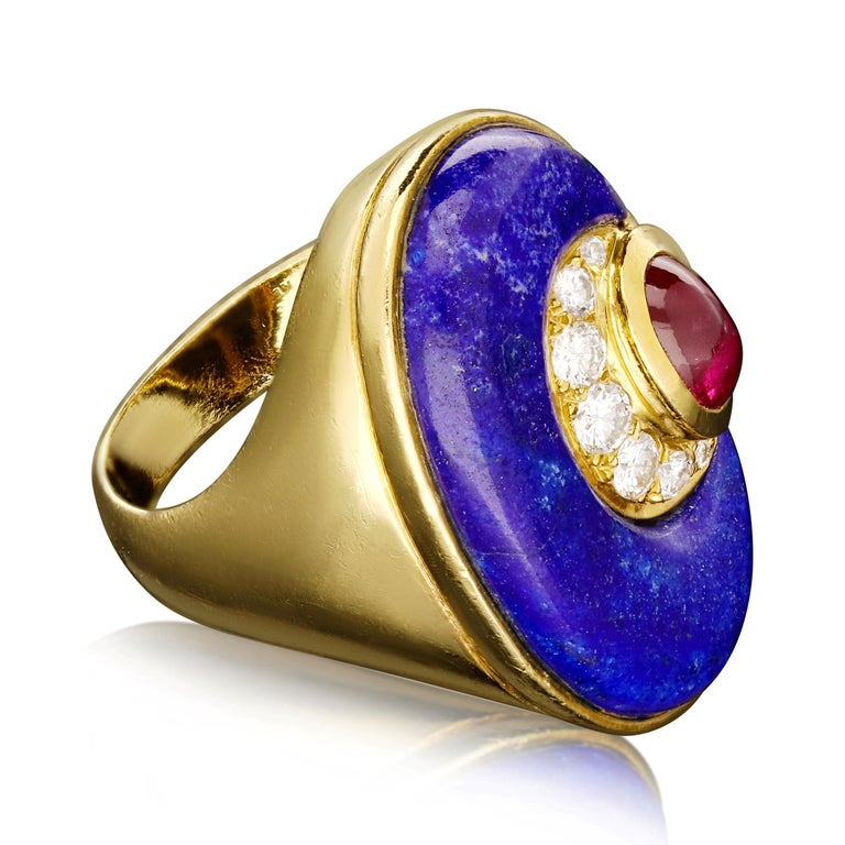Cabochon Bulgari -Vintage Gold, Lapis Lazuli, Diamond & Ruby Dress Ring For Sale