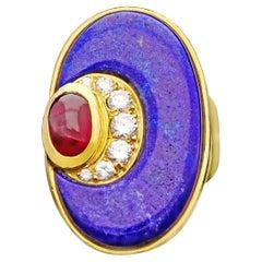 Bulgari -Vintage Gold, Lapis Lazuli, Diamond & Ruby Dress Ring