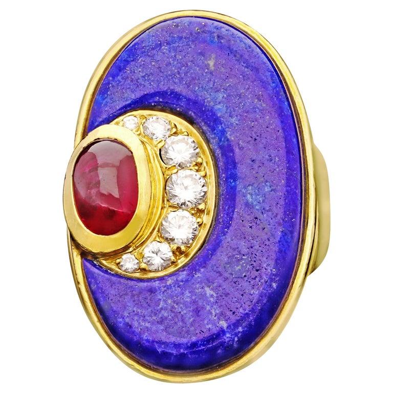 Bulgari -Vintage Gold, Lapis Lazuli, Diamond & Ruby Dress Ring For Sale