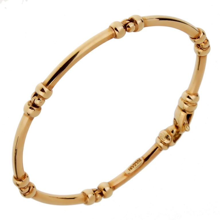 Bulgari Vintage Gold Tube Bracelet In Excellent Condition For Sale In Feasterville, PA