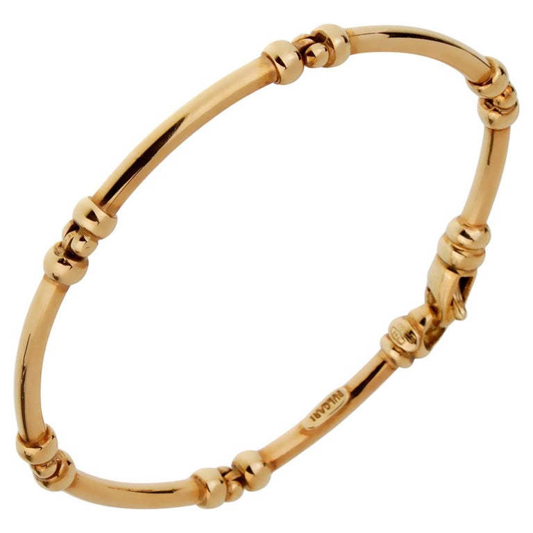Bulgari Vintage Gold Tube Bracelet For Sale