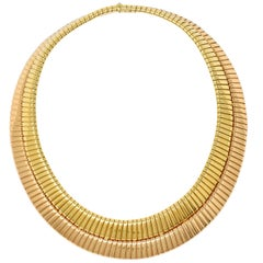Bulgari Vintage Italian 18 Karat Two-Tone Yellow Rose Gold Tubogas Collar