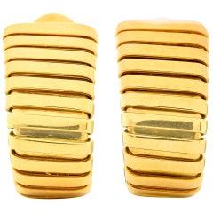 Bulgari Vintage Italian 18 Karat Yellow Gold Tubogas Ear-Clip Earrings