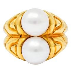 Bulgari Vintage Pearl 18 Karat Gold Italian Doppio Ring, circa 1990s