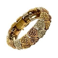 Bulgari Vintage Tri-Color Textured Gold Bracelet