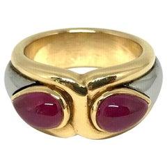 Bulgari Vintage Yellow Gold Hematite Ruby Ring