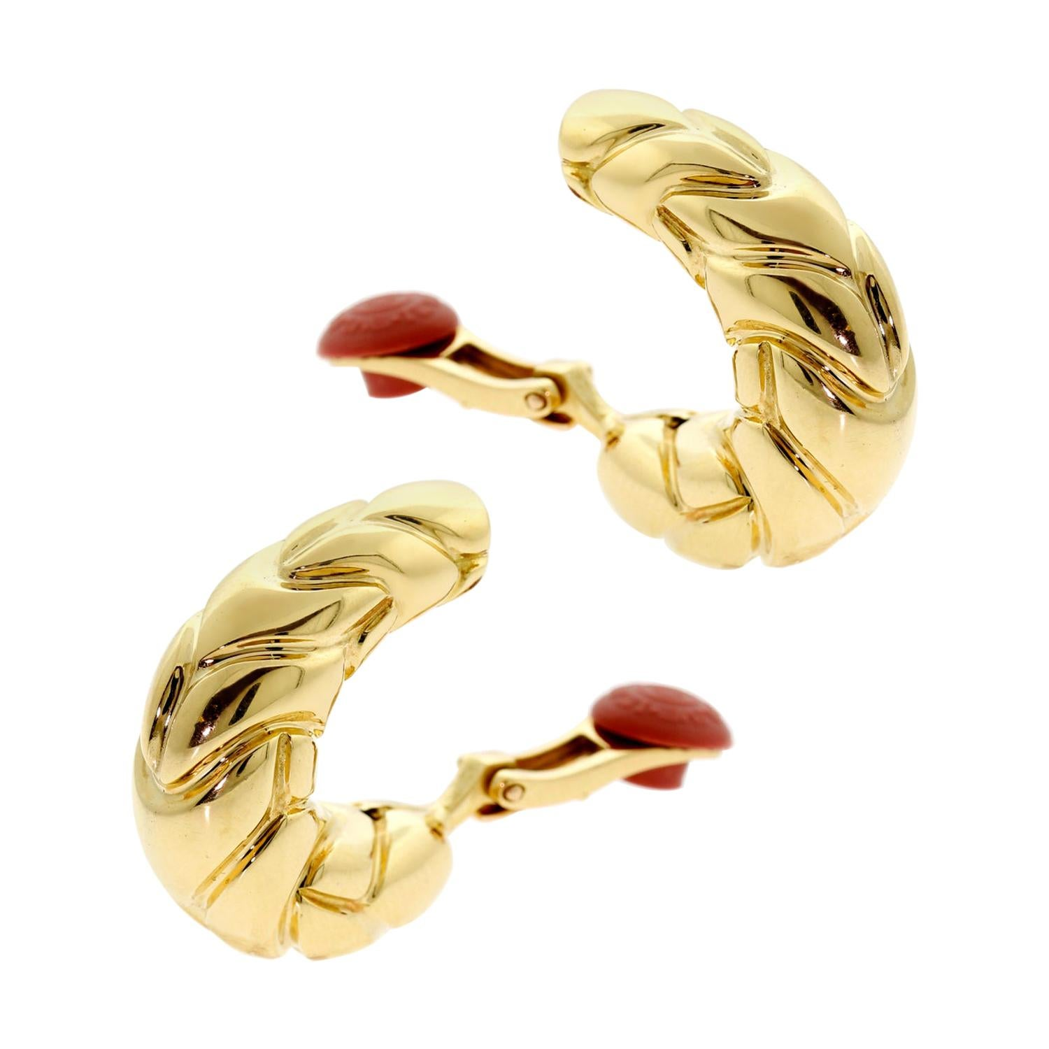 Bulgari Vintage Yellow Gold Hoop Earrings