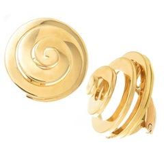 Bulgari Vintage Yellow Gold Swirl Earrings