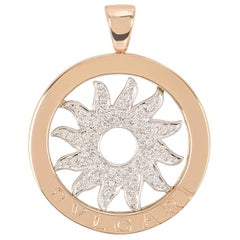 Bulgari White and Rose Gold Diamond Tondo Pendant