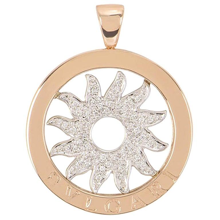 Bulgari White and Rose Gold Diamond Tondo Pendant For Sale