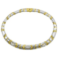 Bulgari White and Yellow Gold Diamond Necklace GIA Certified