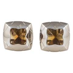 Bulgari White Gold Citrine Pyramid Earrings