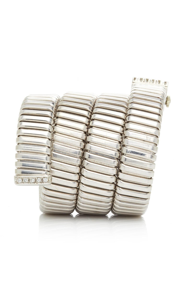 Bulgari White Gold Diamonds Tubogas Ladies Watch In Good Condition For Sale In New York, NY