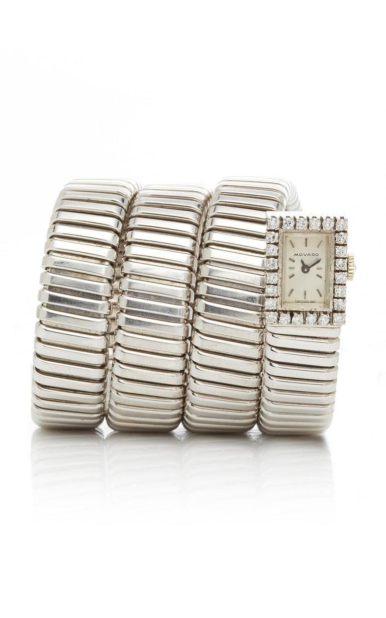 Women's or Men's Bulgari White Gold Diamonds Tubogas Ladies Watch For Sale